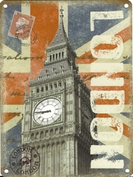 Shabby Chic London Metal Wall Sign